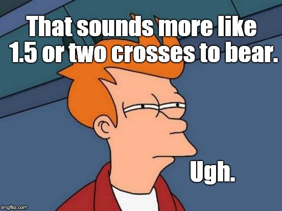 Futurama Fry Meme | That sounds more like 1.5 or two crosses to bear. Ugh. | image tagged in memes,futurama fry | made w/ Imgflip meme maker