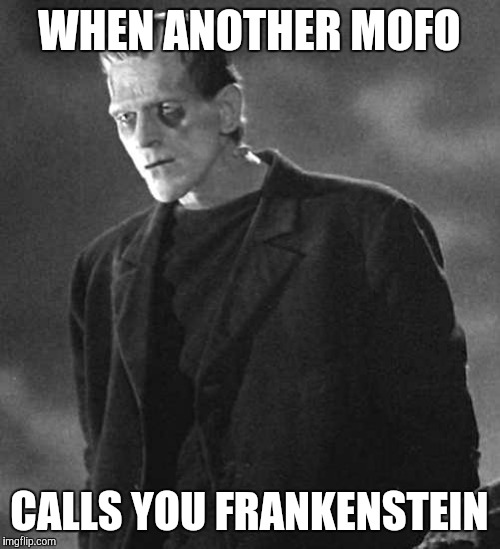 WHEN ANOTHER MOFO CALLS YOU FRANKENSTEIN | image tagged in frankenstein's monster | made w/ Imgflip meme maker