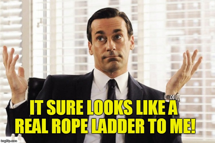 IT SURE LOOKS LIKE A REAL ROPE LADDER TO ME! | made w/ Imgflip meme maker