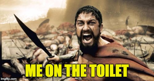 Sparta Leonidas Meme | ME ON THE TOILET | image tagged in memes,sparta leonidas | made w/ Imgflip meme maker