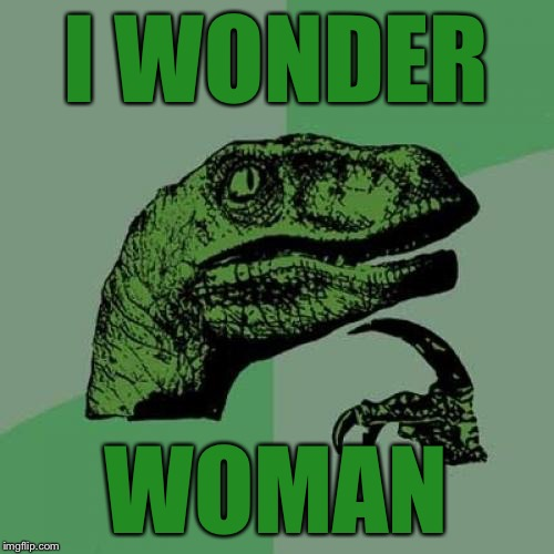 Philosoraptor Meme | I WONDER WOMAN | image tagged in memes,philosoraptor | made w/ Imgflip meme maker