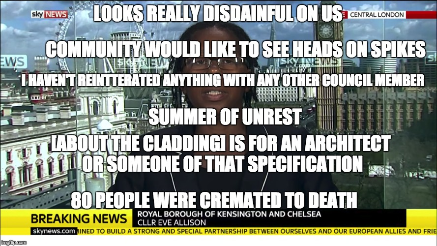 UK Councillor - IQ unknown | LOOKS REALLY DISDAINFUL ON US 80 PEOPLE WERE CREMATED TO DEATH COMMUNITY WOULD LIKE TO SEE HEADS ON SPIKES SUMMER OF UNREST I HAVEN'T REINTT | image tagged in uk councillor - iq unknown | made w/ Imgflip meme maker