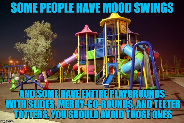 Playground night | SOME PEOPLE HAVE MOOD SWINGS AND SOME HAVE ENTIRE PLAYGROUNDS WITH SLIDES, MERRY-GO-ROUNDS, AND TEETER TOTTERS. YOU SHOULD AVOID THOSE ONES | image tagged in playground night,mood swings,funny,funny memes,emotions | made w/ Imgflip meme maker