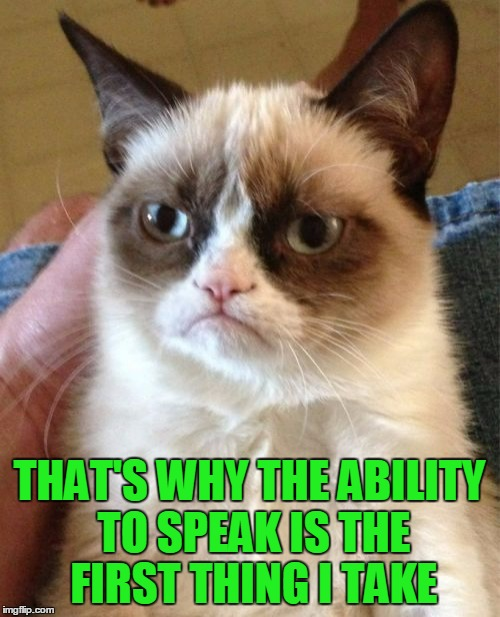 Grumpy Cat Meme | THAT'S WHY THE ABILITY TO SPEAK IS THE FIRST THING I TAKE | image tagged in memes,grumpy cat | made w/ Imgflip meme maker