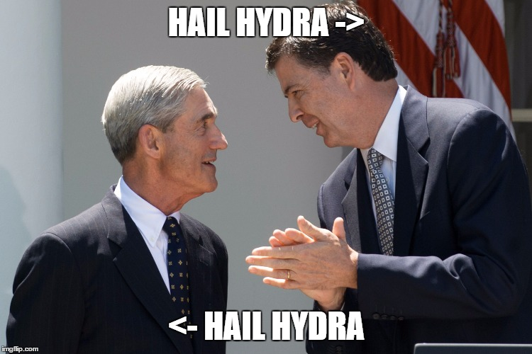 HAIL HYDRA -> <- HAIL HYDRA | image tagged in hail hydra,james comey,liberals | made w/ Imgflip meme maker