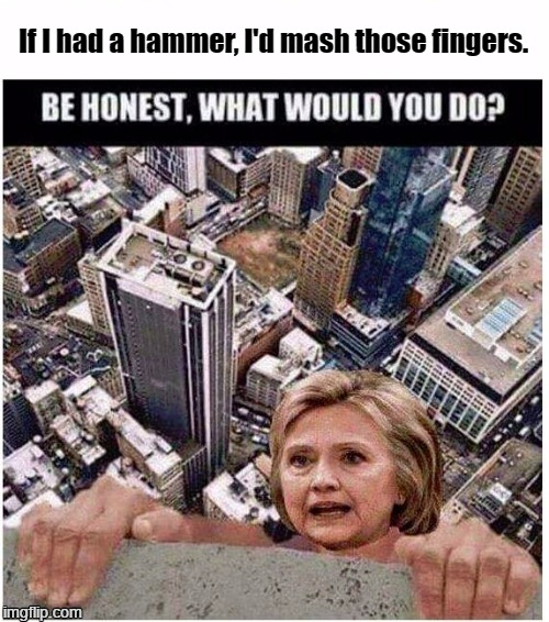 If I had a hammer, I'd hammer in the morning. I'd hammer in the evening, all over this land. | If I had a hammer, I'd mash those fingers. | image tagged in hillary,hammer | made w/ Imgflip meme maker