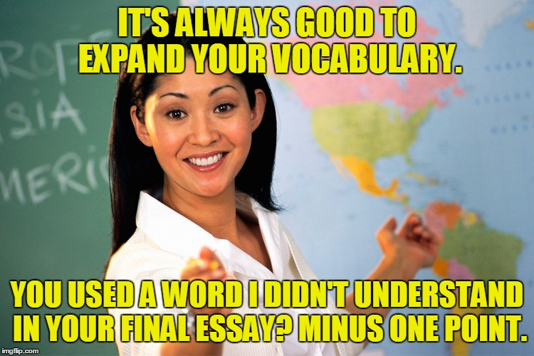 IT'S ALWAYS GOOD TO EXPAND YOUR VOCABULARY. YOU USED A WORD I DIDN'T UNDERSTAND IN YOUR FINAL ESSAY? MINUS ONE POINT. | made w/ Imgflip meme maker