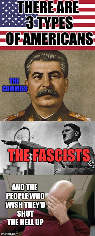 The Far Left, The Far Right, and Normal People | THERE ARE 3 TYPES OF AMERICANS THE COMMIES THE FASCISTS AND THE PEOPLE WHO WISH THEY'D SHUT THE HELL UP | image tagged in fascists,commies,normal people | made w/ Imgflip meme maker