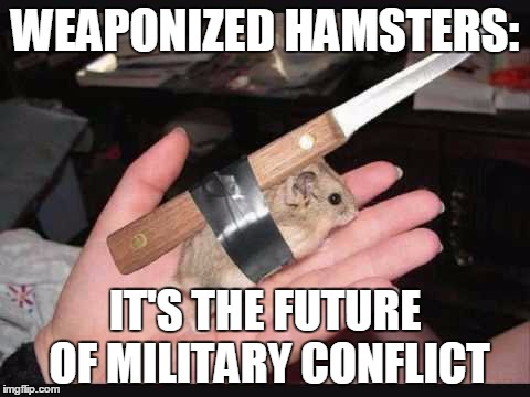 Lock and Load Hamster | WEAPONIZED HAMSTERS: IT'S THE FUTURE OF MILITARY CONFLICT | image tagged in lock and load hamster,memes,military,war,political memes | made w/ Imgflip meme maker