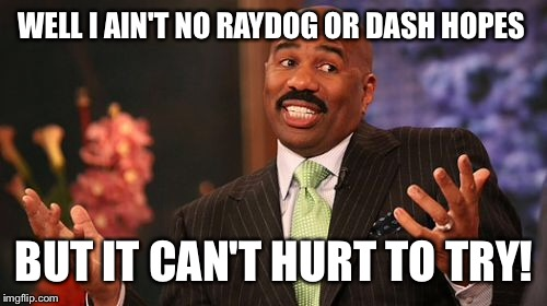 Steve Harvey Meme | WELL I AIN'T NO RAYDOG OR DASH HOPES BUT IT CAN'T HURT TO TRY! | image tagged in memes,steve harvey | made w/ Imgflip meme maker