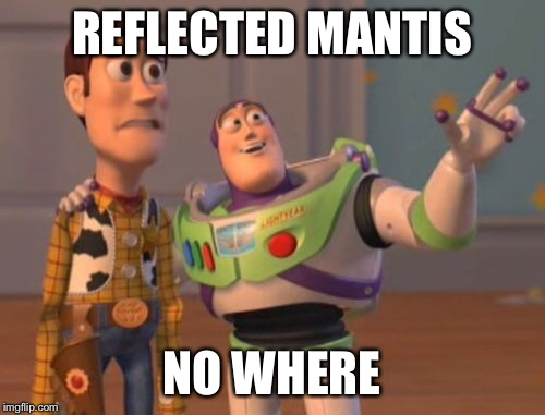 X, X Everywhere Meme | REFLECTED MANTIS NO WHERE | image tagged in memes,x x everywhere | made w/ Imgflip meme maker