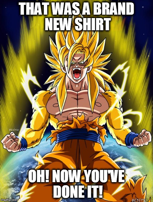 Goku | THAT WAS A BRAND NEW SHIRT OH! NOW YOU'VE DONE IT! | image tagged in goku | made w/ Imgflip meme maker