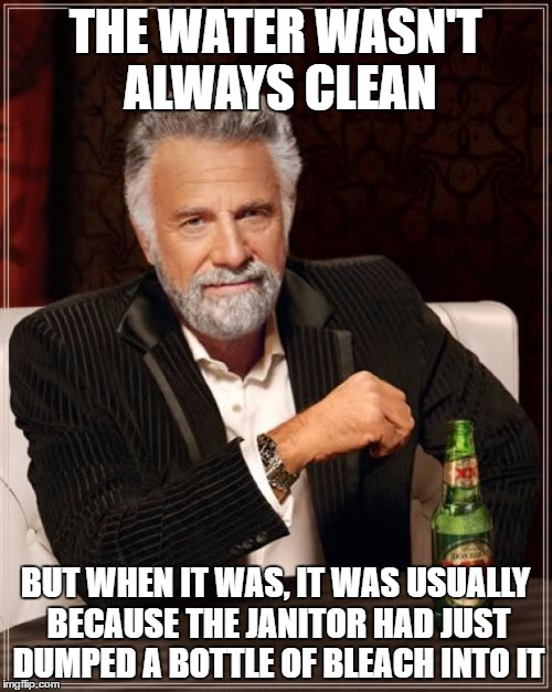 The Most Interesting Man In The World Meme | THE WATER WASN'T ALWAYS CLEAN BUT WHEN IT WAS, IT WAS USUALLY BECAUSE THE JANITOR HAD JUST DUMPED A BOTTLE OF BLEACH INTO IT | image tagged in memes,the most interesting man in the world | made w/ Imgflip meme maker