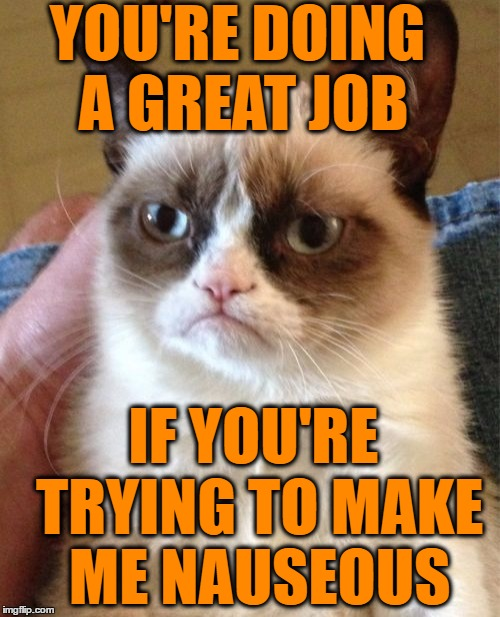 Grumpy Cat Meme | YOU'RE DOING A GREAT JOB IF YOU'RE TRYING TO MAKE ME NAUSEOUS | image tagged in memes,grumpy cat | made w/ Imgflip meme maker