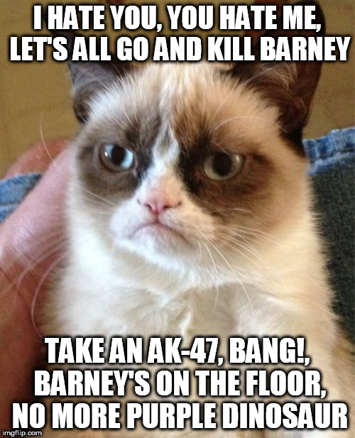 Grumpy Cat Meme | I HATE YOU, YOU HATE ME, LET'S ALL GO AND KILL BARNEY TAKE AN AK-47, BANG!, BARNEY'S ON THE FLOOR, NO MORE PURPLE DINOSAUR | image tagged in memes,grumpy cat | made w/ Imgflip meme maker