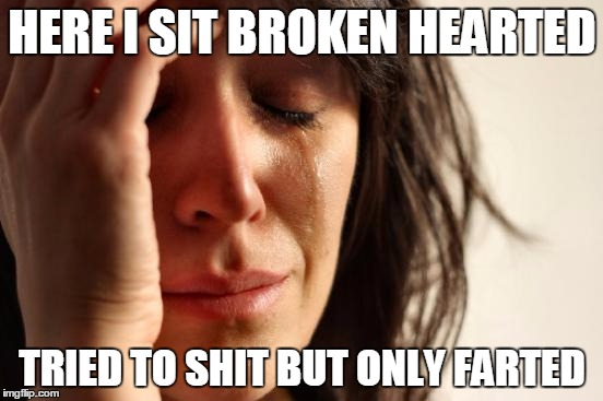 First World Problems Meme | HERE I SIT BROKEN HEARTED TRIED TO SHIT BUT ONLY FARTED | image tagged in memes,first world problems | made w/ Imgflip meme maker