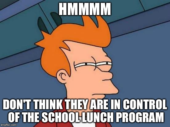 Futurama Fry Meme | HMMMM DON'T THINK THEY ARE IN CONTROL OF THE SCHOOL LUNCH PROGRAM | image tagged in memes,futurama fry | made w/ Imgflip meme maker