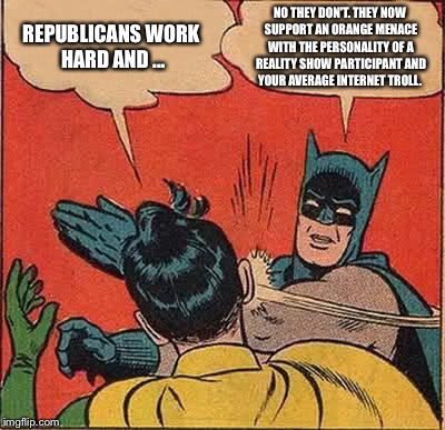 Batman Slapping Robin Meme | REPUBLICANS WORK HARD AND ... NO THEY DON'T. THEY NOW SUPPORT AN ORANGE MENACE WITH THE PERSONALITY OF A REALITY SHOW PARTICIPANT AND YOUR A | image tagged in memes,batman slapping robin | made w/ Imgflip meme maker