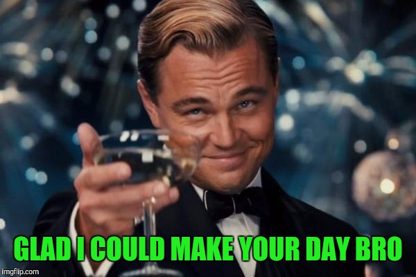 Leonardo Dicaprio Cheers Meme | GLAD I COULD MAKE YOUR DAY BRO | image tagged in memes,leonardo dicaprio cheers | made w/ Imgflip meme maker