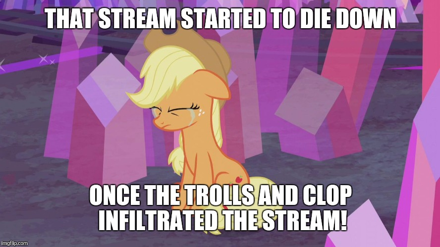 First world problem Applejack | THAT STREAM STARTED TO DIE DOWN ONCE THE TROLLS AND CLOP INFILTRATED THE STREAM! | image tagged in first world problem applejack | made w/ Imgflip meme maker