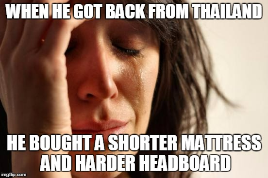 First World Problems Meme | WHEN HE GOT BACK FROM THAILAND HE BOUGHT A SHORTER MATTRESS AND HARDER HEADBOARD | image tagged in memes,first world problems | made w/ Imgflip meme maker