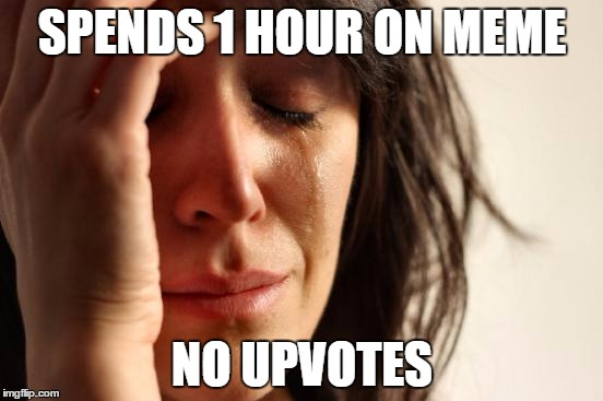 First World Problems Meme | SPENDS 1 HOUR ON MEME NO UPVOTES | image tagged in memes,first world problems | made w/ Imgflip meme maker