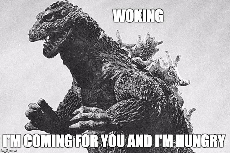 WOKING I'M COMING FOR YOU AND I'M HUNGRY | image tagged in woking,angry godzilla,brexit,scaremongering | made w/ Imgflip meme maker