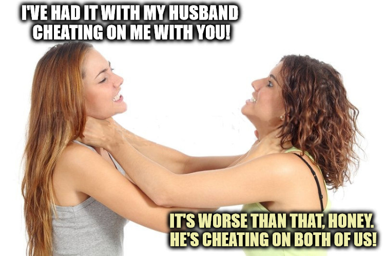 It's one thing to cheat on your wife, but NEVER cheat on your mistress as well! | I'VE HAD IT WITH MY HUSBAND CHEATING ON ME WITH YOU! IT'S WORSE THAN THAT, HONEY. HE'S CHEATING ON BOTH OF US! | image tagged in women fighting,marriage,cheating | made w/ Imgflip meme maker