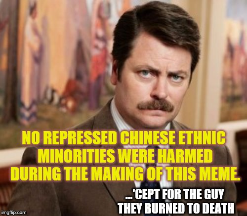 ...'CEPT FOR THE GUY THEY BURNED TO DEATH NO REPRESSED CHINESE ETHNIC MINORITIES WERE HARMED DURING THE MAKING OF THIS MEME. | made w/ Imgflip meme maker