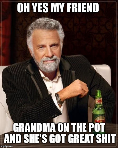 The Most Interesting Man In The World Meme | OH YES MY FRIEND GRANDMA ON THE POT AND SHE'S GOT GREAT SHIT | image tagged in memes,the most interesting man in the world | made w/ Imgflip meme maker