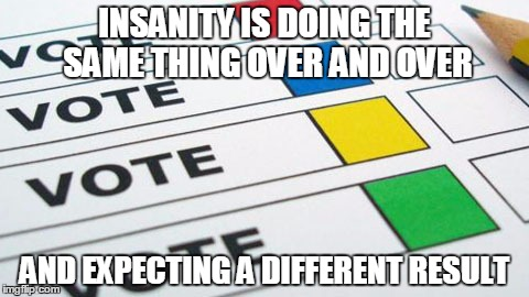 political poll | INSANITY IS DOING THE SAME THING OVER AND OVER AND EXPECTING A DIFFERENT RESULT | image tagged in political poll | made w/ Imgflip meme maker