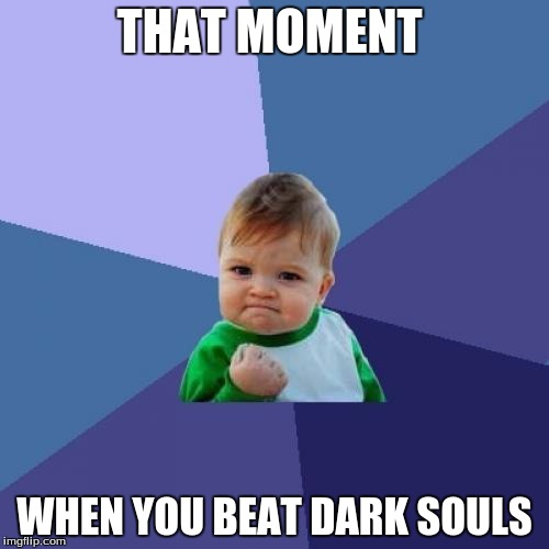 Success Kid Meme | THAT MOMENT WHEN YOU BEAT DARK SOULS | image tagged in memes,success kid | made w/ Imgflip meme maker