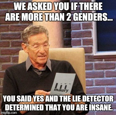 Maury Lie Detector Meme | WE ASKED YOU IF THERE ARE MORE THAN 2 GENDERS... YOU SAID YES AND THE LIE DETECTOR DETERMINED THAT YOU ARE INSANE. | image tagged in memes,maury lie detector | made w/ Imgflip meme maker