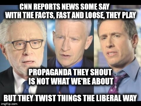 CNN is fake news.  Limerick Week June 19 - 25. (A MnMinPhx Event) | CNN REPORTS NEWS SOME SAY         WITH THE FACTS, FAST AND LOOSE, THEY PLAY BUT THEY TWIST THINGS THE LIBERAL WAY PROPAGANDA THEY SHOUT IS N | image tagged in cnn,limerick week,fake news,stupid liberals | made w/ Imgflip meme maker