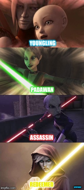 Asajj Ventress | YOUNGLING PADAWAN ASSASSIN REDEEMED SPRYWOLF | image tagged in asajj ventress,star wars,clone wars,assassin,jedi,padawan | made w/ Imgflip meme maker