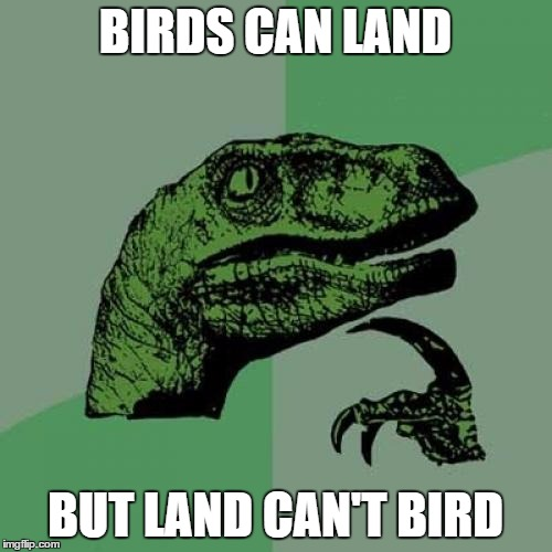 Philosoraptor Meme | BIRDS CAN LAND BUT LAND CAN'T BIRD | image tagged in memes,philosoraptor | made w/ Imgflip meme maker