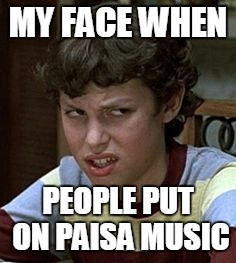 Freaks and geeks | MY FACE WHEN PEOPLE PUT ON PAISA MUSIC | image tagged in freaks and geeks | made w/ Imgflip meme maker