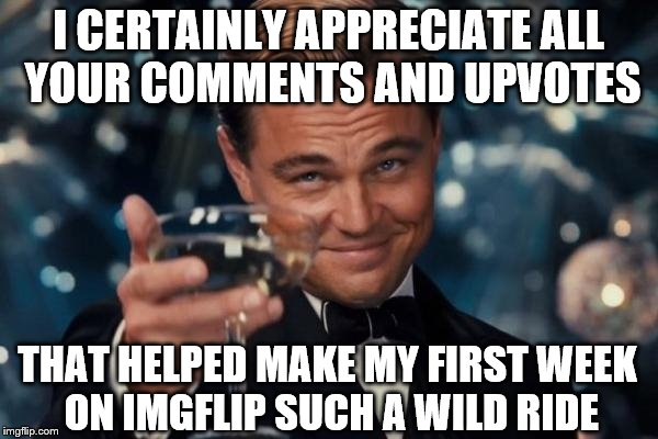 I CERTAINLY APPRECIATE ALL YOUR COMMENTS AND UPVOTES THAT HELPED MAKE MY FIRST WEEK ON IMGFLIP SUCH A WILD RIDE | made w/ Imgflip meme maker