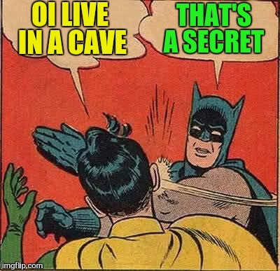 Batman Slapping Robin Meme | OI LIVE IN A CAVE THAT'S A SECRET | image tagged in memes,batman slapping robin | made w/ Imgflip meme maker