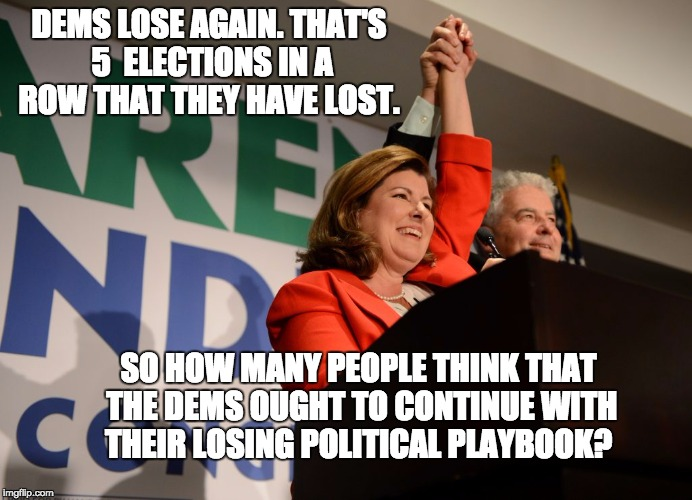 Insanity: Doing the same thing over and over and expecting a different result. | DEMS LOSE AGAIN. THAT'S 5  ELECTIONS IN A ROW THAT THEY HAVE LOST. SO HOW MANY PEOPLE THINK THAT THE DEMS OUGHT TO CONTINUE WITH THEIR LOSIN | image tagged in political meme | made w/ Imgflip meme maker