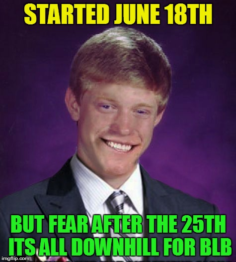 STARTED JUNE 18TH BUT FEAR AFTER THE 25TH ITS ALL DOWNHILL FOR BLB | made w/ Imgflip meme maker