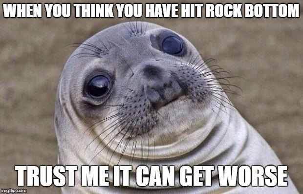 Awkward Moment Sealion Meme | WHEN YOU THINK YOU HAVE HIT ROCK BOTTOM TRUST ME IT CAN GET WORSE | image tagged in memes,awkward moment sealion | made w/ Imgflip meme maker