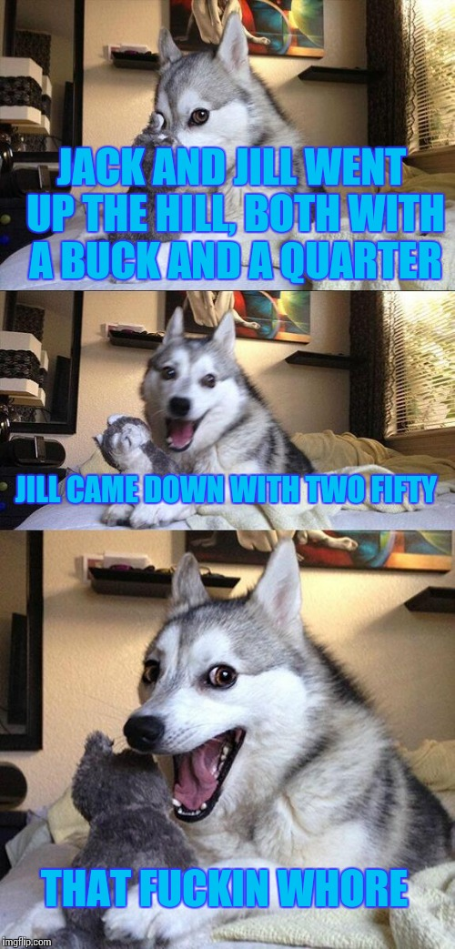 Bad Pun Dog Meme | JACK AND JILL WENT UP THE HILL, BOTH WITH A BUCK AND A QUARTER JILL CAME DOWN WITH TWO FIFTY THAT F**KIN W**RE | image tagged in memes,bad pun dog | made w/ Imgflip meme maker