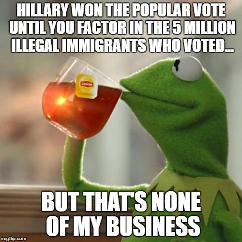 But Thats None Of My Business Meme | HILLARY WON THE POPULAR VOTE UNTIL YOU FACTOR IN THE 5 MILLION ILLEGAL IMMIGRANTS WHO VOTED... BUT THAT'S NONE OF MY BUSINESS | image tagged in memes,but thats none of my business,kermit the frog | made w/ Imgflip meme maker