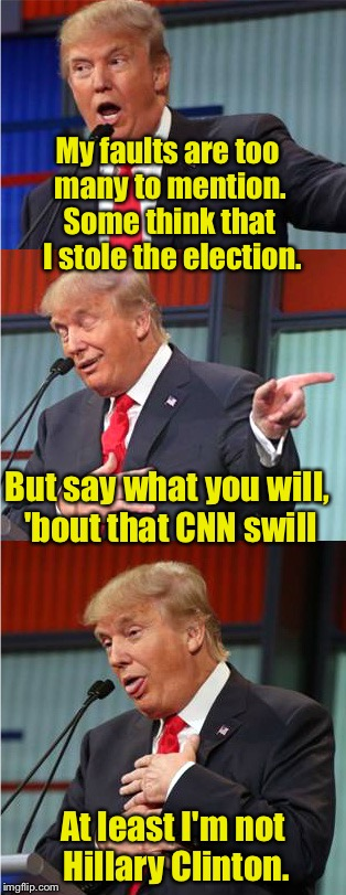 Limerick Week (a MnMinPhx event) | My faults are too many to mention. At least I'm not Hillary Clinton. But say what you will, 'bout that CNN swill Some think that I stole the | image tagged in bad pun trump,limerick week | made w/ Imgflip meme maker