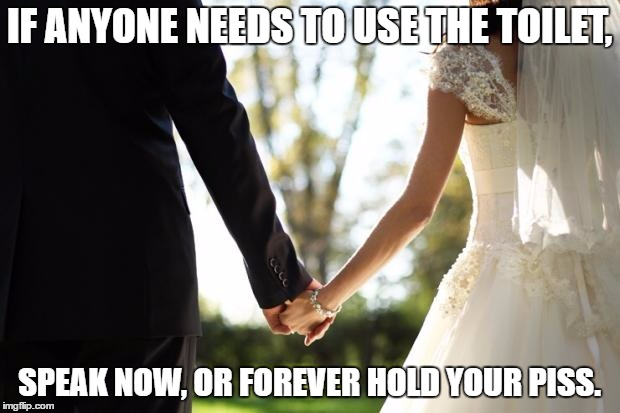 wedding | IF ANYONE NEEDS TO USE THE TOILET, SPEAK NOW, OR FOREVER HOLD YOUR PISS. | image tagged in wedding | made w/ Imgflip meme maker