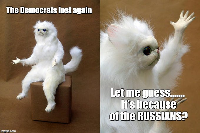 Got to blame someone.... |  The Democrats lost again; Let me guess....... It's because of the RUSSIANS? | image tagged in russia russia russia not,tick tock | made w/ Imgflip meme maker