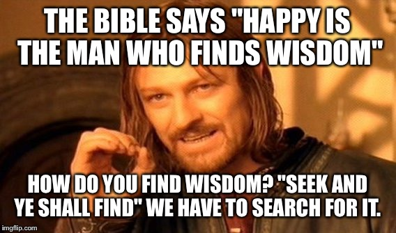 "One Does Not Simply | THE BIBLE SAYS ""HAPPY IS THE MAN WHO FINDS WISDOM"" HOW DO YOU FIND WISDOM? ""SEEK AND YE SHALL FIND"" WE HAVE TO SEARCH FOR IT. 