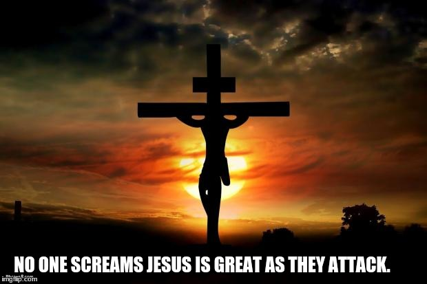 Jesus on the cross |  NO ONE SCREAMS JESUS IS GREAT AS THEY ATTACK. | image tagged in jesus on the cross | made w/ Imgflip meme maker