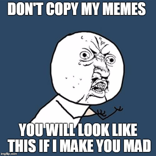 Y U No Meme | DON'T COPY MY MEMES YOU WILL LOOK LIKE THIS IF I MAKE YOU MAD | image tagged in memes,y u no | made w/ Imgflip meme maker